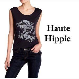 ⬇️NWT Haute Hippie Sleeveless Black Graphic TShirt